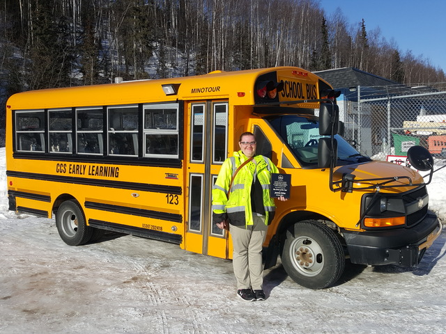Jasmine Dirkes of First Student is named Bus Driver of the Year by Alaska Head Start Association.