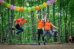 Park staff jump for joy in the fun atmosphere at The Adventure Park. Visitors find themselves doing the same. (Photo: Outdoor Ventures)