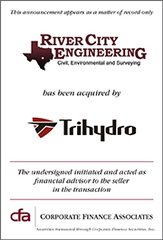 Corporate Finance Associates Advises River City Engineering in Its Acquisition by Trihydro Corporation