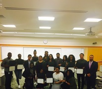 Professor Maurice Dyson with Thomas Jefferson School of Law student volunteers who participated in the CLIMB program