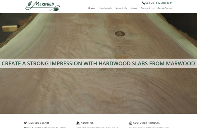 Marwood Manufacturing's new website - http://www.marwoodslabs.com - features detailed pages about each wood species that they offer, an extensive FAQ section, as well as a Get A Quote form.