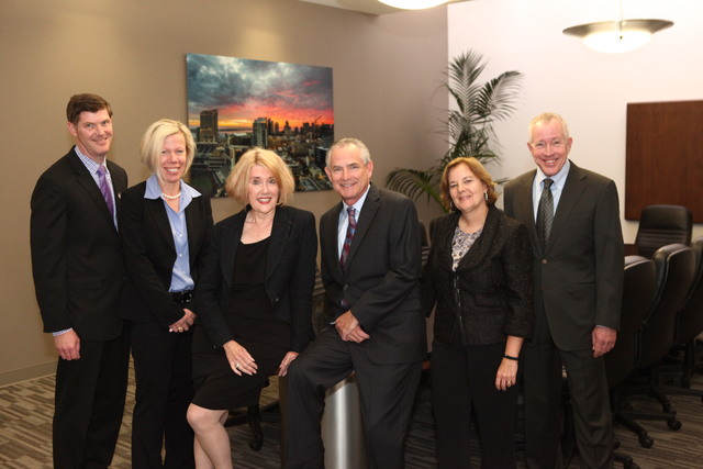 From left to right: Kieran J. Purcell, Anne L. Rauch, Mary M. Howell, Jon H. Epsten, Susan M. Hawks McClintic and Douglas W. Grinnell of Epsten Grinnell and Howell APC