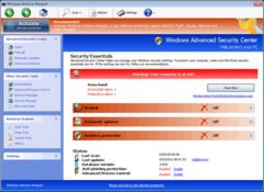 Windows Antivirus Rampart's security essentials interface may appear to have helpful features but nothing works on this program.