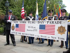 Preparing to March - Participants assemble at City Hall Park before the beginning of the 2011 Flag Day Parade.