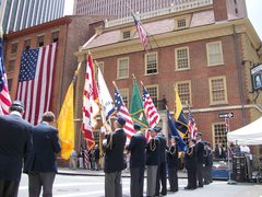 The Color Guard of The Sons of the Revolution in the State of New York with some of their Revolutionary War flag collection at the 2011 Flag Day Parade ceremonies before historic Fraunces Tavern.