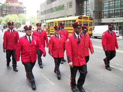 Crimson Pride - A contingent representing The Alliance for Downtown New York marches in the 2011 New York City Flag Day Parade.