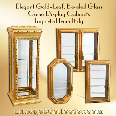 Italian Gold-Leaf Beveled Glass Curio Vitrine Display Cabinets offered exclusively at LimogesCollector.com