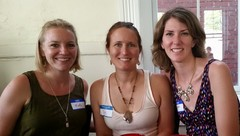 """Megan is pictured with Nicole Bartlett (left) & Kim Rash (middle) who own and operate Louisville Salt Cave where Megan will speak on """"Training the Brain"""" through mindfulness August 31st at 6:00 p.m."""