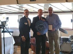 Paul Ford – President of Riverside Parking – received his award for his company's support of Waterfront Park at the 2016 Silver Anchor Award Reception presented by Friends of the Waterfront.