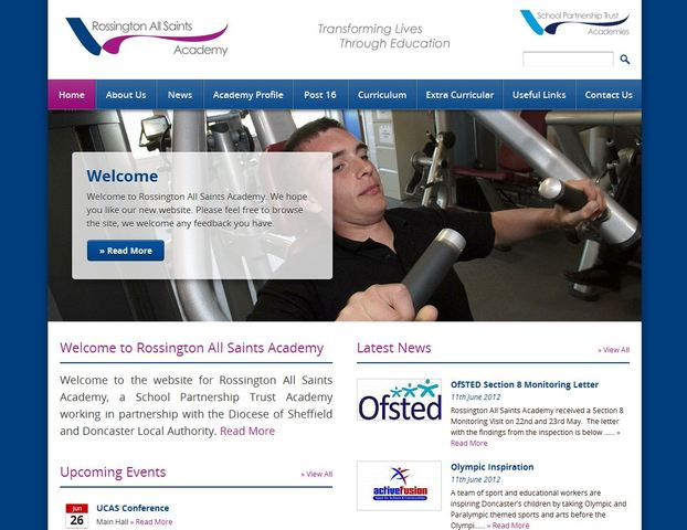 The new Rossington All Saints Academy website