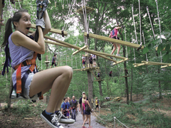 At The Adventure Park at Long Island's Climb Against Cancer event on October 5, 2017 climbers will have fun and support a good cause. Non-climbers welcome too!