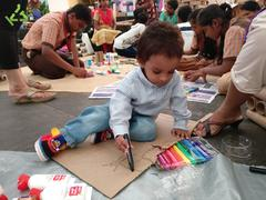 A Child enjoying the game made using Kabaad