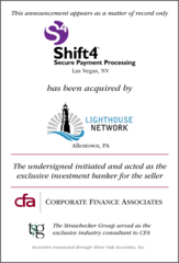 Corporate Finance Associates Advises Shift4 in Its Acquisition by Lighthouse Network