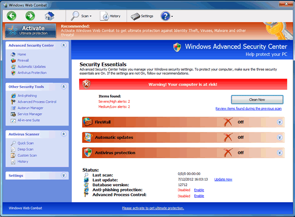 Windows Web Combat's features are completely bogus.