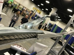 The Quantum Zip Line System as demonstrated at the ACCT Conference uses both half inch cable with Quantum's own control sections added to create curves or to regulate trolley speed.