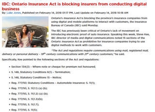 Ontario Insurance Act is Preventing Insurers from Running Digital Business