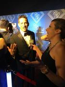 Cindy interviewing Jeff Timmons of 98 degrees.