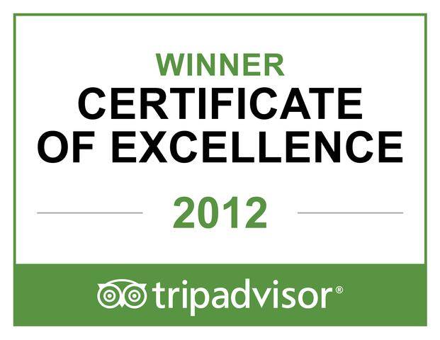Winner of TripAdvisor's Certificate of Excellence 2012