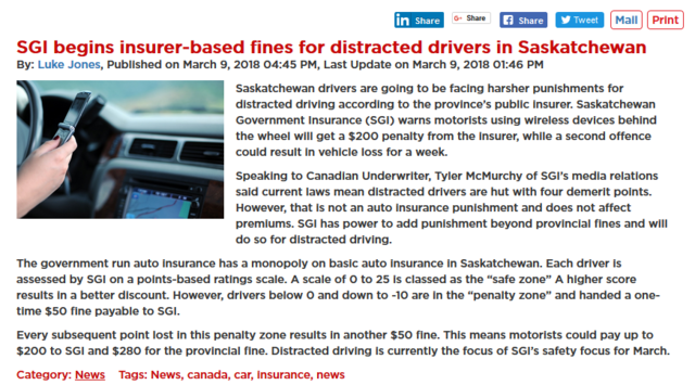Saskatchewan Government Insurance (SGI) warns motorists using wireless devices behind the wheel will get a $200 penalty from the insurer...