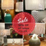Offering a large selection of lamps, all at 30% off, during our storewide lamp sale throughout the month of June.