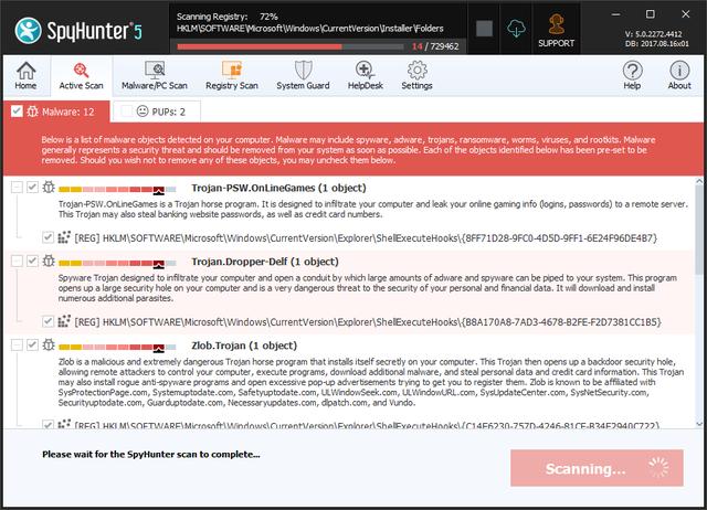 SpyHunter 5's Malware Scanner