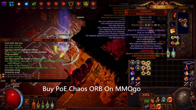 Buy PoE Chaos ORB On MMOgo
