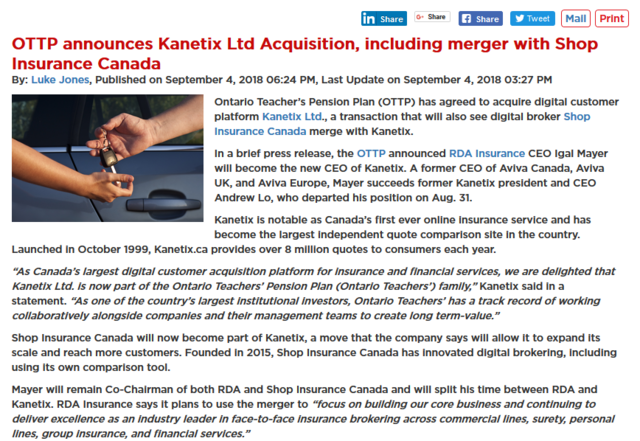 Shop Insurance Canada has announced it has merged with online comparison site Kanetix Ltd. The move is part of Ontario Teacher's Pension Plan (OTTP) agreeing to acquire Kanetix ...