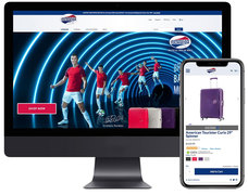 American Tourister homepage with product detail page on mobile.