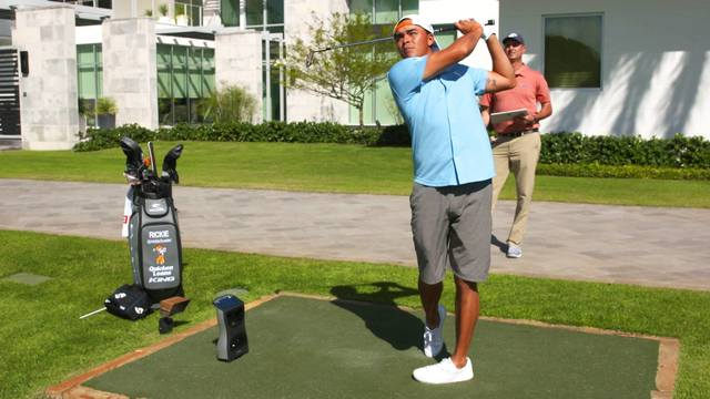 Rickie Fowler using GCQuad Golf Launch Monitor