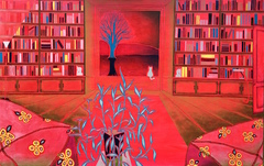 Twilight Library, Scott Allen Roberts, Oil on Canvas, 46 x 72""