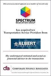 Corporate Finance Associates Advises Spectrum Relocation Group, Inc. in the Acquisition of Ten Companies