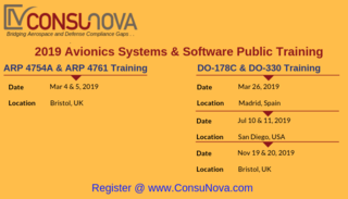 ConsuNova announces its 2019 DO-178C Training and ARP 4754A/4761 Training worldwide