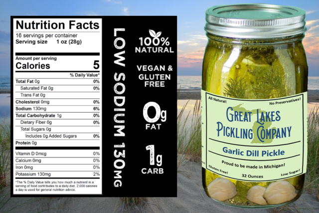 Great Lakes Pickling low-sodium pickles. Premium pickles, craft made in Michigan by hand.