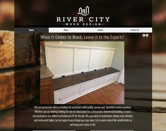The River City Wood Design website features additional information about the craftsmen and a large gallery of images of past custom built, handmade wooden furniture.