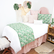 Blush Pink and Green Leaf Dorm Bedding Set by Decor 2 Ur Door