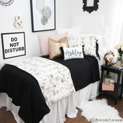 Carrara Marble Black and Rose Gold Dorm Bedding Set by Decor 2 Ur Door