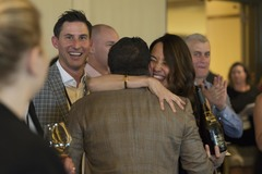 Kate Norris of Division Wine Celebrates with Winning Bidder (Easton Richmond Photography)