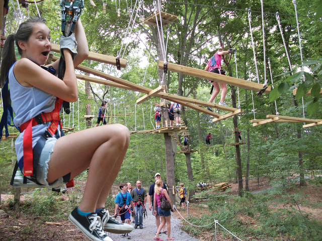The Adventure Park at Storrs offers the most zip lines in the gereater Hartford area---but the Park is much more than just zip lines. It's a total climbing experience for young or old.