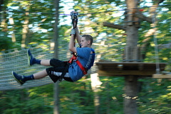 The Adventure Park at Virginia Aquarium will donate $1 for each climber at The Park from April 26 through 28, 2019. A zip line rider like this will mean one new tree in our National Forests.