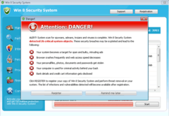 Win 8 Security System is another clone of Windows Anti-Malware Patch and Windows Antivirus Machine.