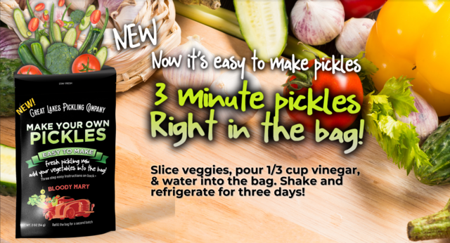 Easy DIY pickle making pouches from Great Lakes Pickling take just 3 minutes to make craft pickles.
