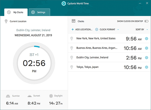 Cyclonis World time keeps track of the time in multiple locations across the globe.