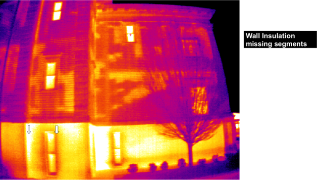 Thermal image showing missing insulation (can be used with home energy audit / assessment)