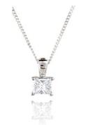 18ct White Gold, 0.25ct Princess Cut Diamond Pendant - £799.00