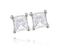 18ct White Gold, 0.33ct Princess Cut Diamond Stud Earrings - £899.00