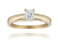 18ct Yellow Gold, 0.30ct Princess Cut Diamond Engagement Ring - £1,399.00