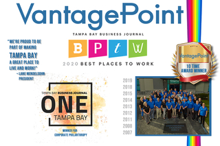 Vantagepoint AI Named Best Place to Work by Tampa Bay Business Journal for the 10th time!