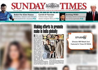 """Studio45 Got featured in the Times Of India for Promoting """"vocal for local"""""""