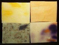Lemongrass, Citrus, Sage, and Blackberry and Orange soap bars.
