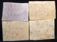 More soaps with special additions: Lavender with petals, Orange with Oatmeal, Orange with Oatmeal (untinted) and Sunflower with calendula petals.